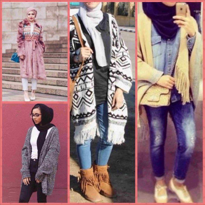 a5a767fe2 كوليكشن ملابس شتوية للمحجبات فى شتاء 2018 winter kintted hijab outfits