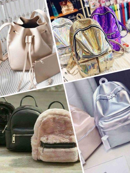 f993d7d27352a بالصور .. موضة شنط الضهر الجلد و القطيفة velvet and leather back bags